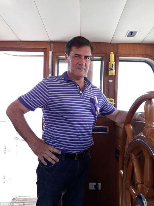 Hervé Jaubert at wheel of Nostromo