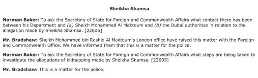 UK Parliament: House of Commons Debate on Sheikha Shamsa