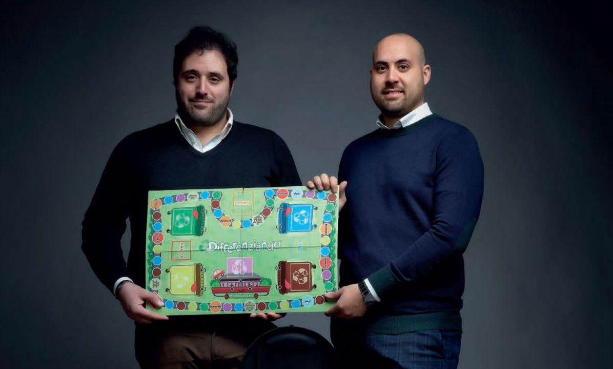 """Manuel Manotta e Roberto Latorre, autori del gioco da tavolo """"Differenziando""""."""