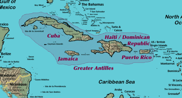 Puerto Rico's culture and Caribbean map