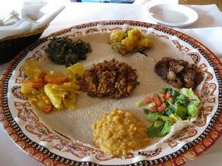 Vegetarian Ethiopian food platter