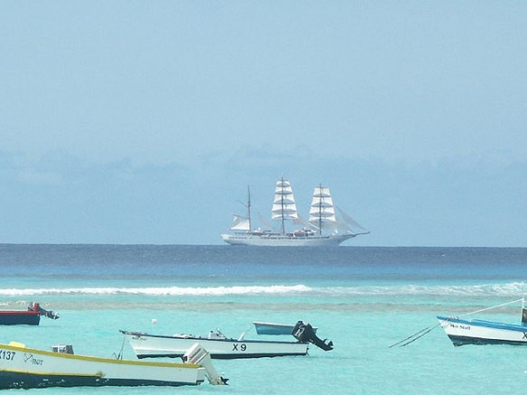 Barbados beaches, sailing ship