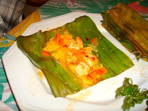 Maya food banana leaves