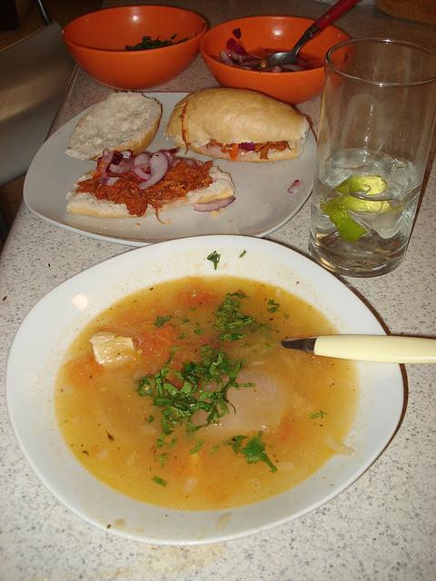 Maya food lime soup and cochinita pibil