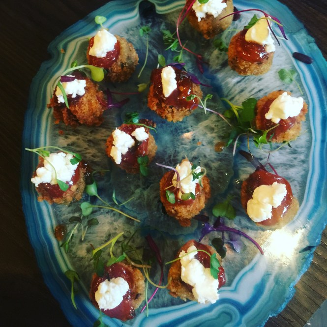 The Herb Box catering menu - wild mushroom risotto cakes with goat cheese and tomato jam