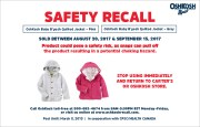 Safety Recall:   baby B'Gosh Jacket