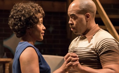 Sly, (Frank Taylor Green) steals a brief romantic moment with Chelle Photo by Michael Ensminger