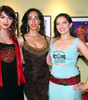 Xiltlali Dancer (center) is also a fashion designer. Shown here with two models showing her work.