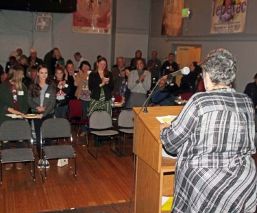 Barela receives a standing ovation while making her announcement for Denver City Council District 3.