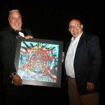 """Joseph A. Salazar is a former Democratic   Charles """"Chaz"""" Tedesco  (left) is presented with the Civic Champion Award from Joseph A. Salazar, former Democratic member of the Colorado House of Representatives, serving from 2013 to early 2019."""