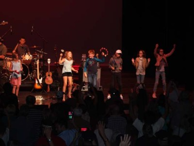 The next generation of music enthusiasts joined Ozomatli onstage for an impromptu jam session.