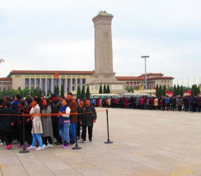 Thousands of people wait in line to view some of the attractions in Tienanmen Square. During Chinese vacation periods, lines can easily be 5,000 people long
