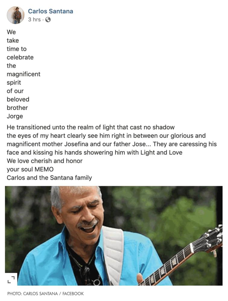 Carlos Santana Facebook post