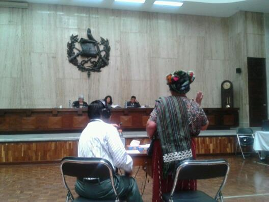 Witness testifies, with aid of court-appointed Nebaj Ixil interpreter