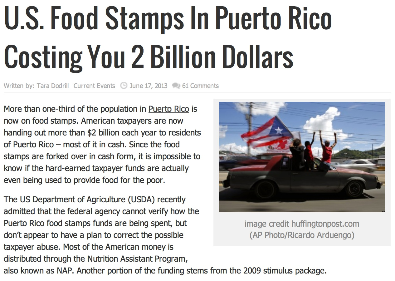 Latest Food Stamps Story About Puerto Rico Riddled With Ignorance