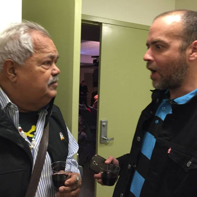 The author discussing the future of #BoricuaLit with Dr. Miguel Algarín, founder of the Nuyorican Poets Cafe