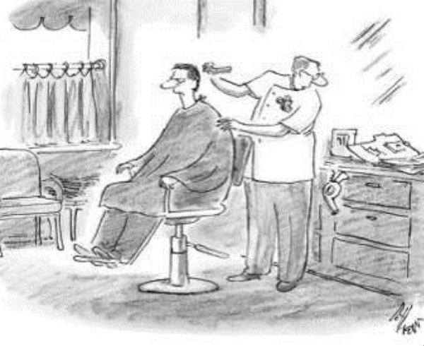 Yo se precisamente como cortar tu pelo… lo veo aquí en tu carpeta.