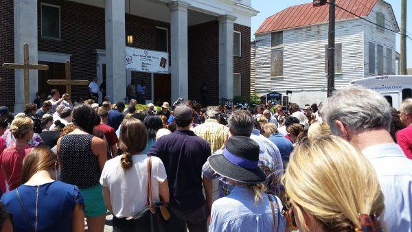 Memorial held at Morris Brown AME Church, Charleston. (Credit: Nomader)