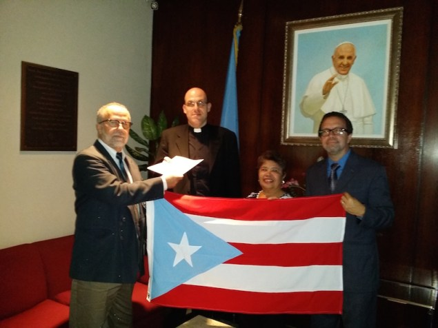 From left: Manuel Melendez Lavandero, Msgr. Joseph Grech, First Secretary of the Holy See to the UN, Lourdes Garcia and David Galarza (Via A Call to Action on Puerto Rico)