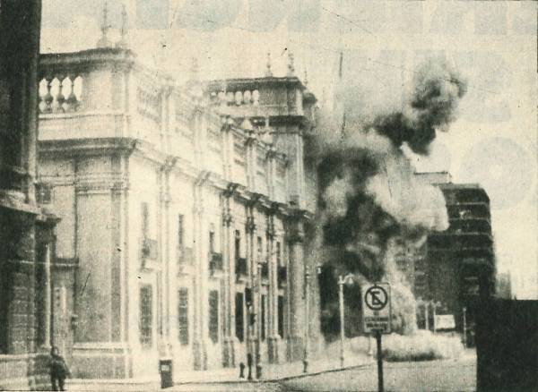 Bombing of La Moneda, Chile's presidential palace, on September 11, 1973 (Library of the Chilean National Congress)
