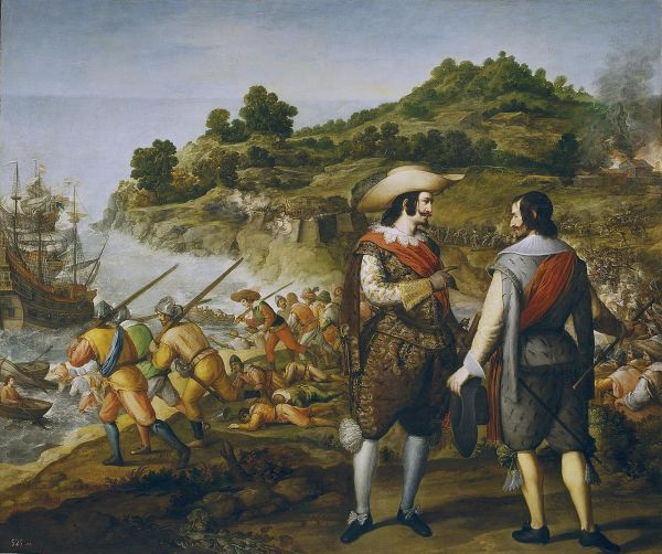 Seventeenth-century Spanish painting commemorating Captain Juan de Amezquita's victory and Enrico's defeat at San Juan de Puerto Rico; by Eugenio Caxés, Museo del Prado (Public Domain)