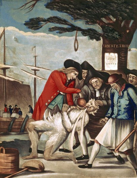 The Bostonian Paying the Excise-Man, 1774 British propaganda print referring to the tarring and feathering of Boston Commissioner of Customs John Malcolm four weeks after the Boston Tea Party. The men also poured hot tea down Malcolm's throat (Public Domain)
