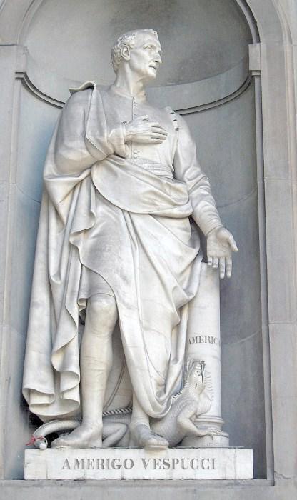A statue of Italian explorer and cartographer Amerigo Vespucci (Public Domain)