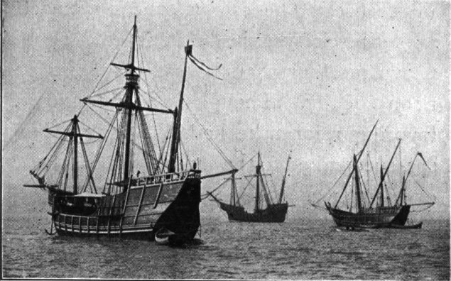 Replicas of Niña, Pinta and Santa María sailing from Spain to the Chicago Columbian Exposition, 1893 (Public Domain)
