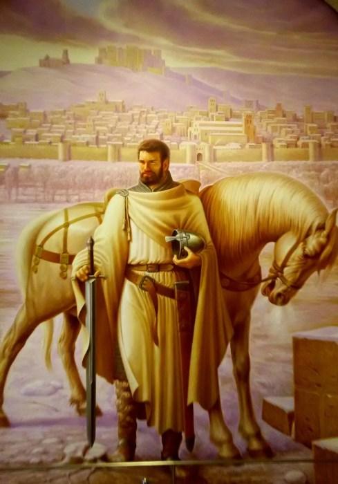 Portrait of El Cid and his steed Babieca in a Burgos museum