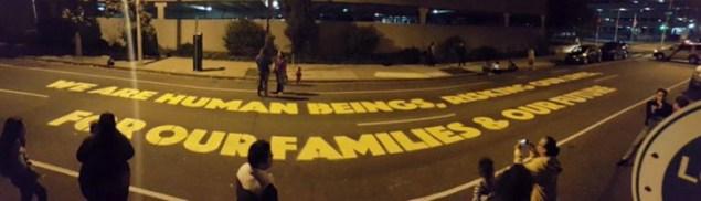 Public art installation by Michelle Angela Ortiz in front of ICE field offices in Philadelphia (Juntos Facebook page)