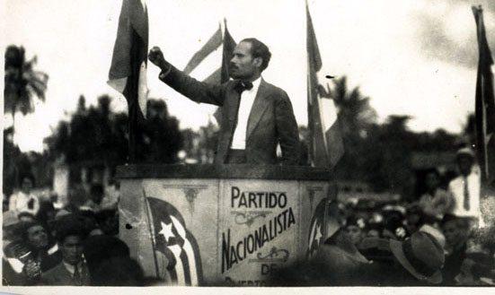Pedro Albizu Campos, leader of the Nationalist Party, speaks to striking sugar cane workers in Guyama, Puerto Rico in 1934 (Centro de Estudios Puertorriqueños/Hunter College/CUNY)
