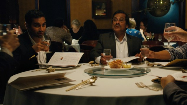Actor and comedian Aziz Ansari (left) as Dev Shah in 'Master of None,' alongside his real-life father (Screenshot)