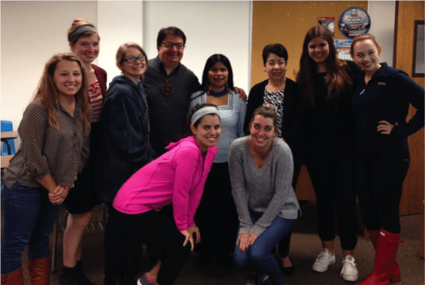 Patricia Gualinga and students
