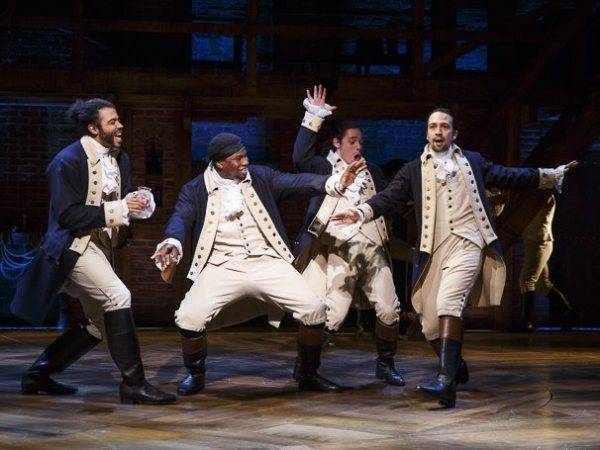 Daveed Diggs as Marquis de Lafayette, Okieriete Onaodowan as Hercules Mulligan, Anthony Ramos as John Laurens and Lin-Manuel Miranda as Alexander Hamilton in Hamilton