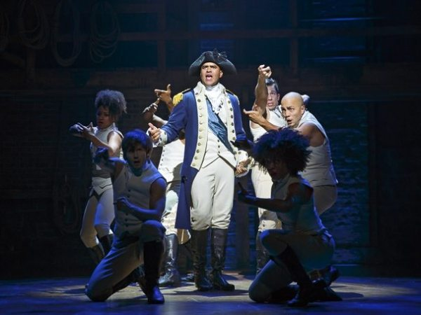 Christopher Jackson as George Washington and the cast of Hamilton