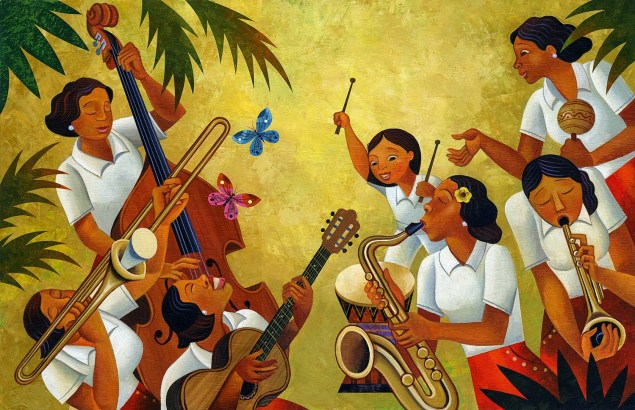 Illustration by Rafael López, from Margarita Engle's 2015 book Drum Dream Girl: How One Girl's Courage Changed Music