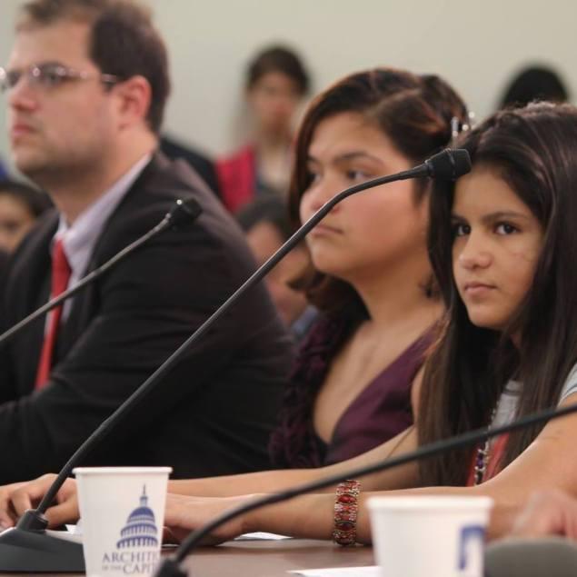Bryan Johnson (l), testifying before Congress.