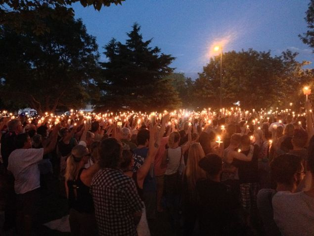 Candlelight vigil for the Orlando nightclub shooting held in Albuquerque, New Mexico (PHOTO by Kaldari)