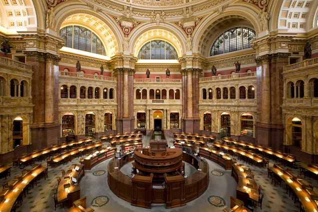 Main Reading Room of the Library of Congress in the Thomas Jefferson Building (Public Domain)