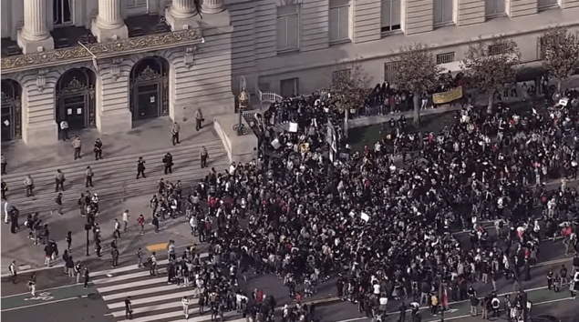 Students protest Donald Trump in San Francisco (via CBS SF Bay Area)