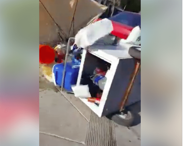 Argentinian Man Harasses LA Street Food Vendor, Flipping Over His Cart