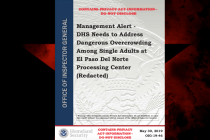 Office of Inspector General: 'DHS Needs to Address Dangerous Overcrowding Among Single Adults at El Paso Del Norte Processing Center'