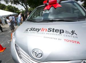 Toyota donates wheelchair-accessible 2015 Toyota Sienna minivan to Stay In Step non-profit recovery center dedicated to helping spinal-cord injury (SCI) patients.