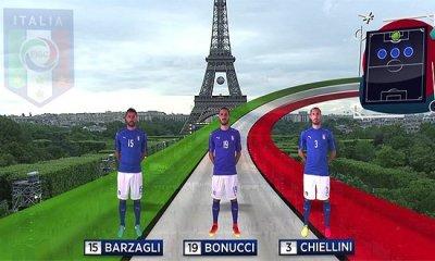 Defesa da seleção italiana para o jogo de estreia da Eurocopa 2016, diante da Bélgica
