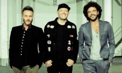 Nek, Max Pezzali e Francesco Renga na capa do single Dure da Battere