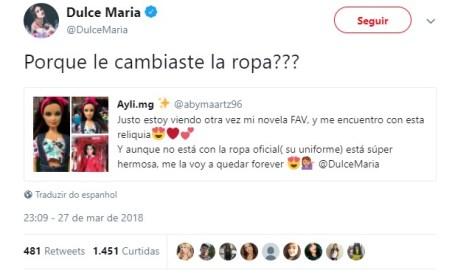Dulce Maria dá patada em fã no Twitter