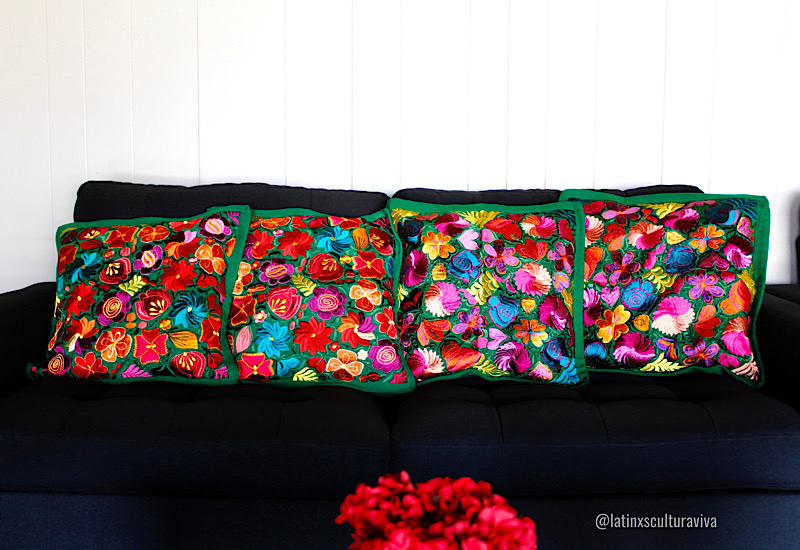 green embroidered pillow covers