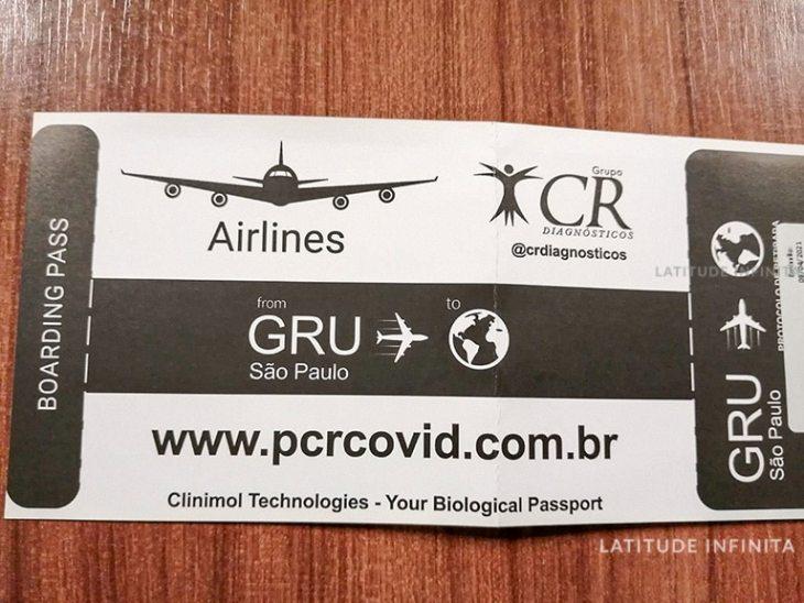 boarding pass do teste PCR no aeroporto de guarulhos