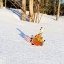 bottiglia di sciroppo nella neve