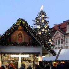 bancarelle e albero in piazza Città Vecchia